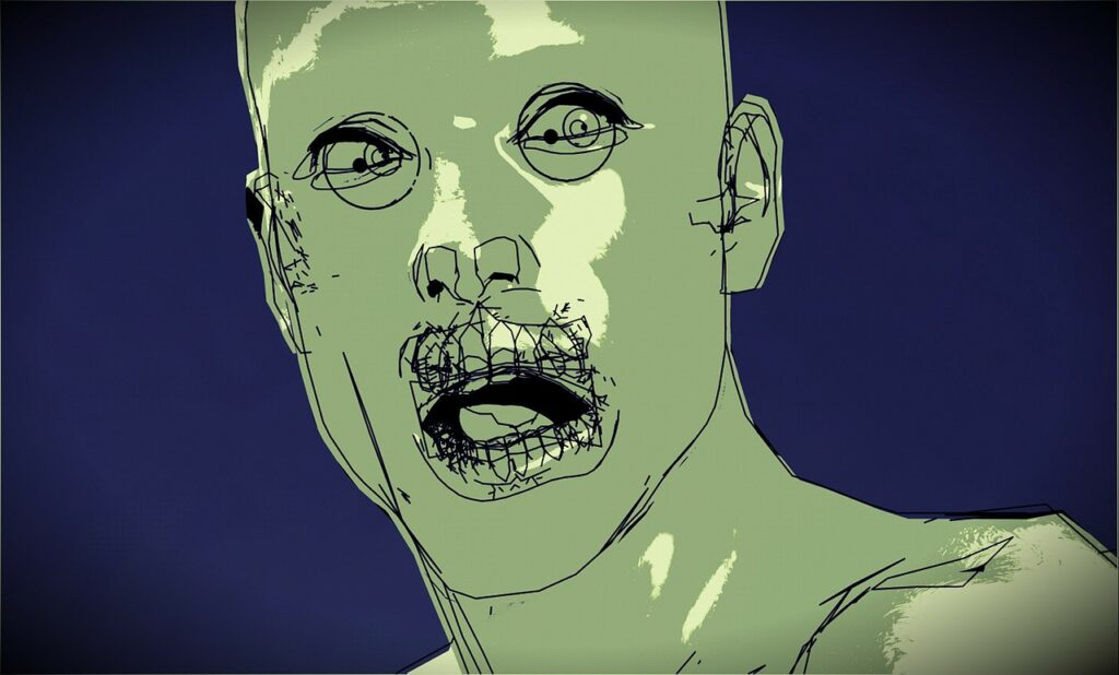 przestraszony czlowiek otwiera usta